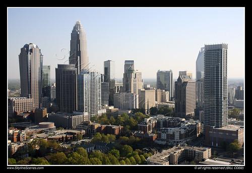 Aerial of Charlotte Skyline
