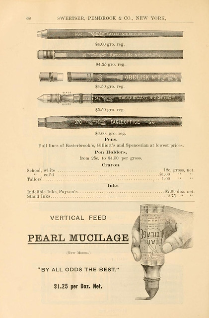 Pens, pen holders and mucilage (glue)