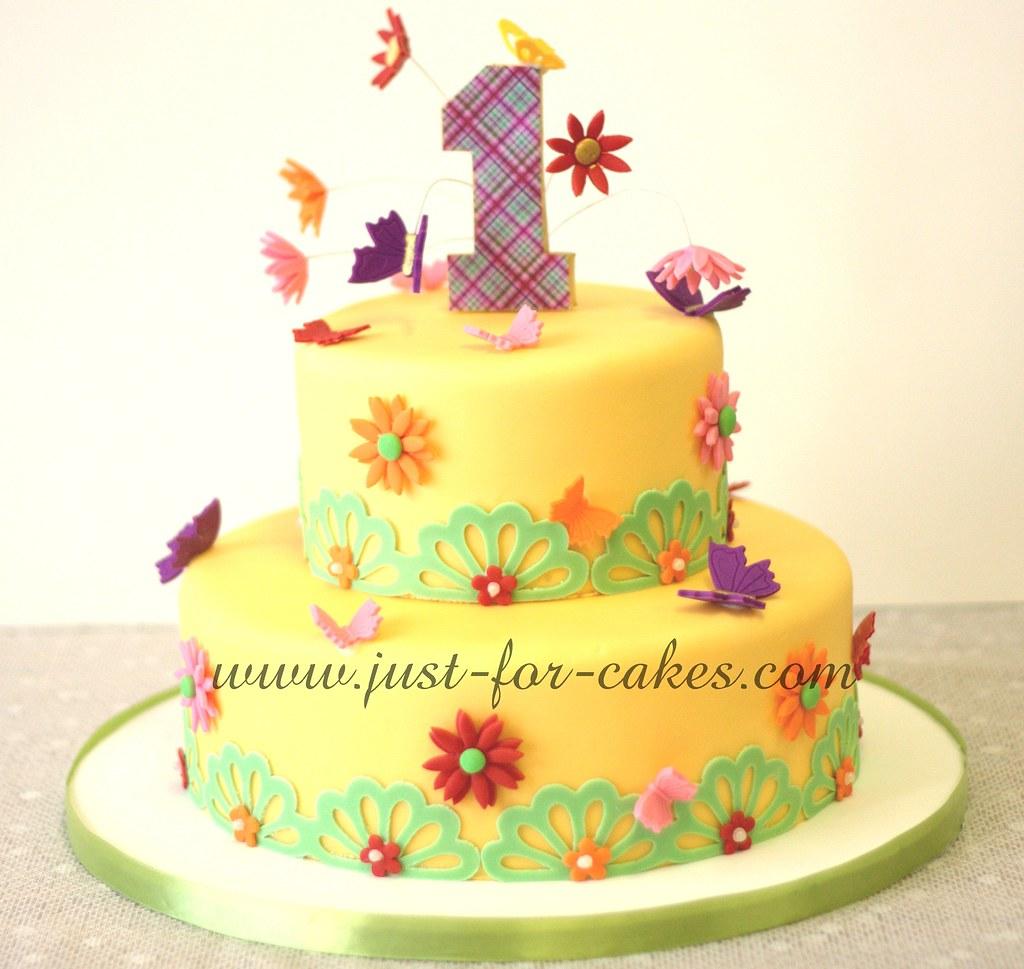 Fabulous Butterfly First Birthday Cake Sanjyot Banerjie Flickr Funny Birthday Cards Online Kookostrdamsfinfo