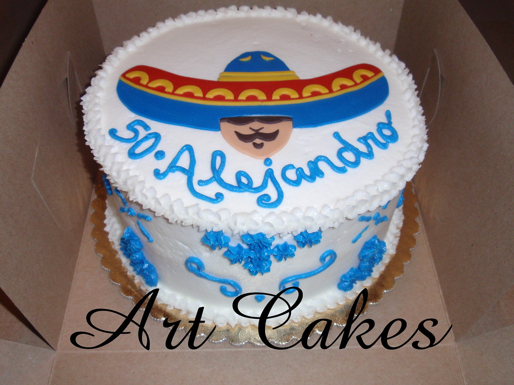 Swell Mexican Birthday Cake Round Buttercream Cake With A Mexica Flickr Birthday Cards Printable Benkemecafe Filternl