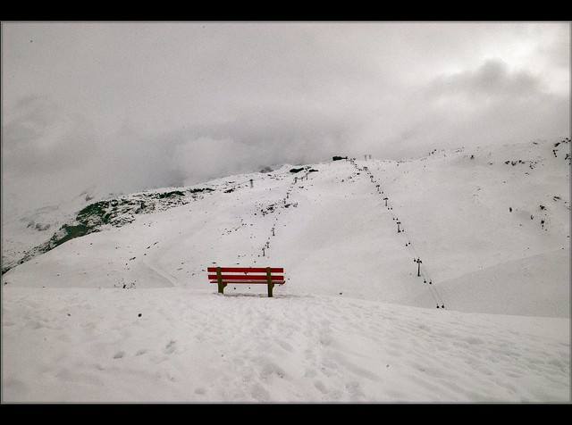 Swiss winter time in Zermatt, a lonely banch waiting to be used. No. 968.