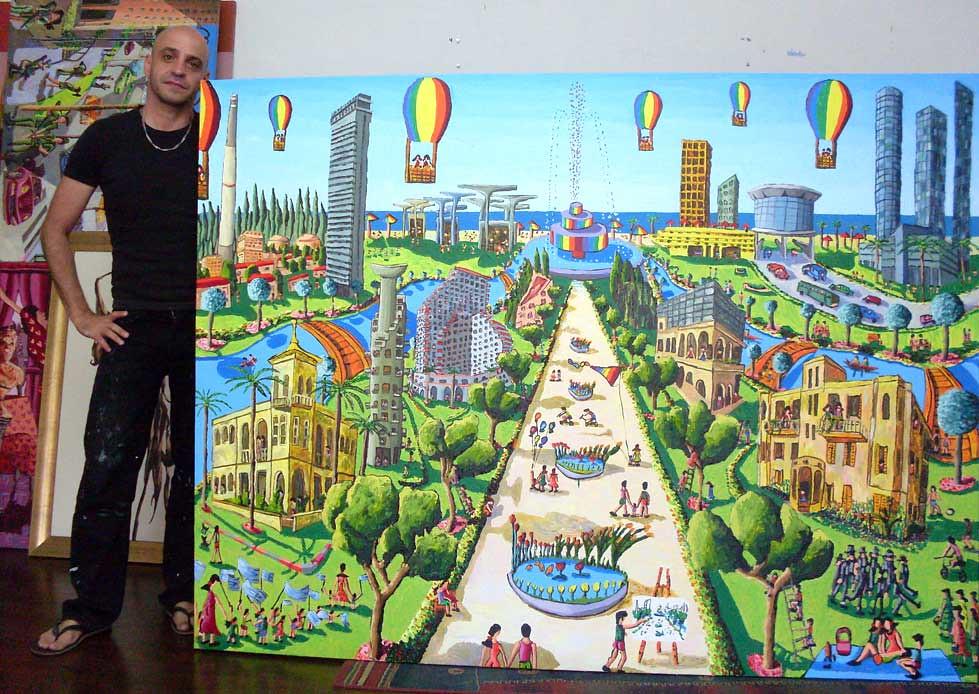 ציור נאיבי ציורים נאיבים אמנות אומנות אמן אומן צייר ציירים ישראלי ישראלי יהודי יהודים נופי ישראל נופים נוף עירוני
