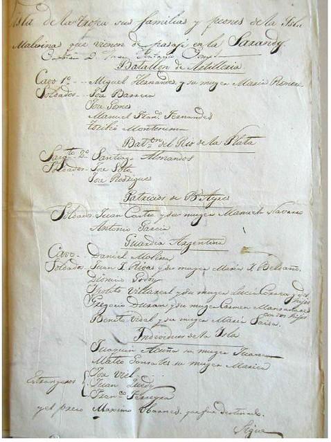 José María Pinedo, passenger list 1833