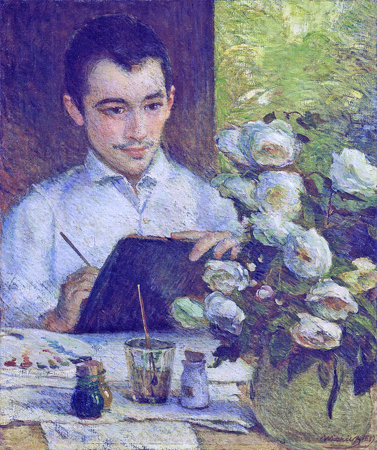 Marie Bracquemond: Pierre Bracquemond painting a bouquet of flowers (1887)