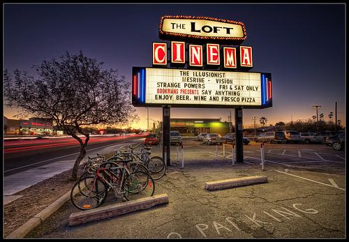 street old arizona cinema classic bicycle sign loft night canon photography twilight traffic tucson parking lot sigma pima trail nik roadside 1020mm speedway photomatix tonemap hdrblending t1i bugeyedg