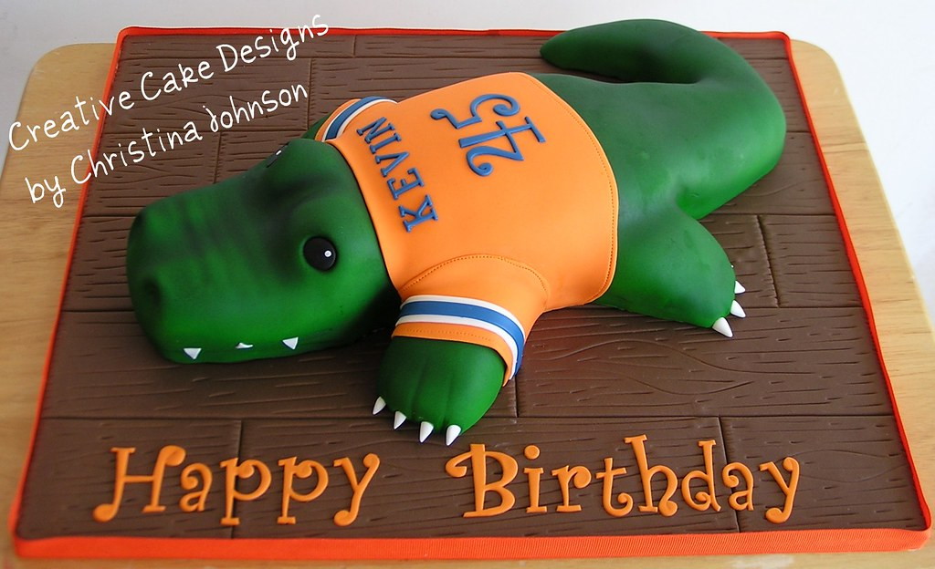 Excellent Florida Gator Cake My Most Difficult Cake To Date But So Flickr Personalised Birthday Cards Veneteletsinfo