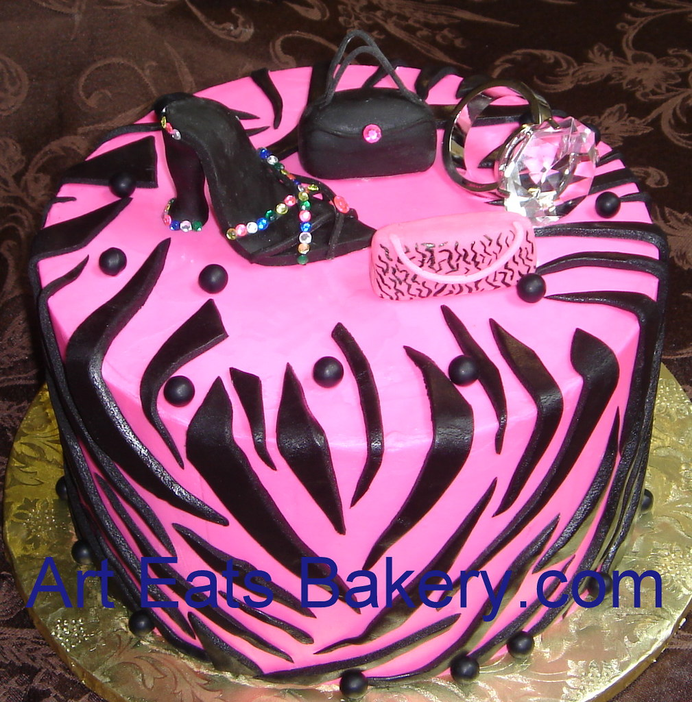 Prime Pink And Black Custom Designed Zebra Diva Birthday Cake With Sugar Funny Birthday Cards Online Barepcheapnameinfo