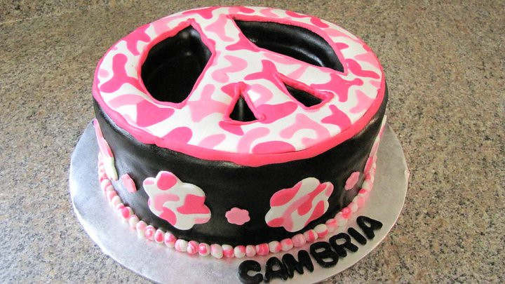 Marvelous 3D Peace Sign Cake Peace Sign With A Pink Camo Peace Sign Flickr Funny Birthday Cards Online Overcheapnameinfo