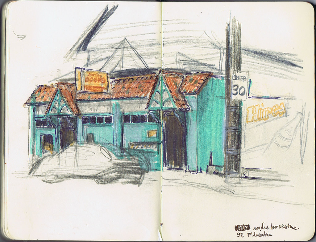 Portland Sketchcrawl Armchair Books Brooklyn Neighborho Flickr