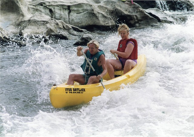 Steven and Suzanne canoeing in Ardeche