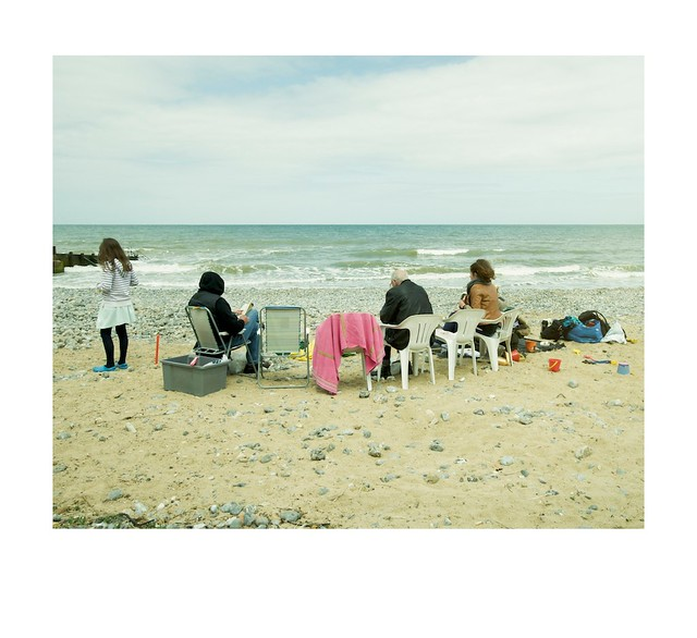Beach, tourists and sea.