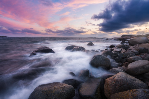 ocean sunset storm water colors clouds coast rocks waves sweden windy smoky särö canon6d västerskogar