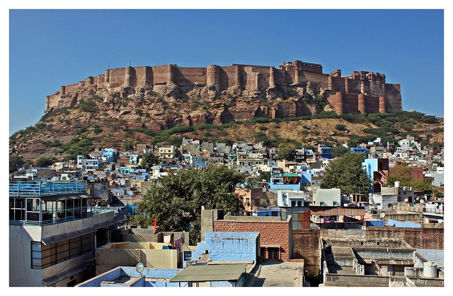 Blue city against the backdrop of Mehrangarh fort,Jodhpur