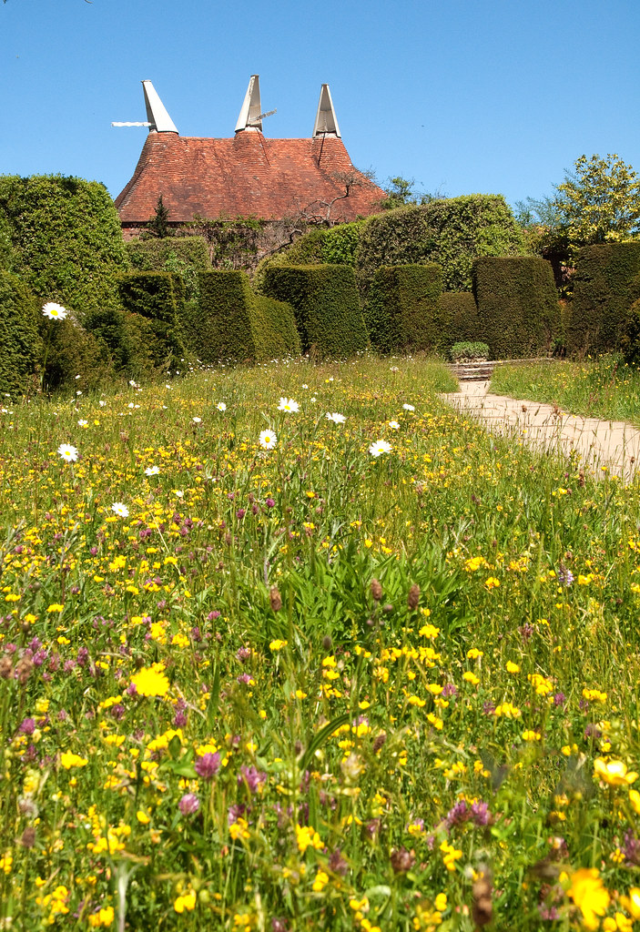 The Wildflower Meadow Topiary And Oast House At Great Di Flickr