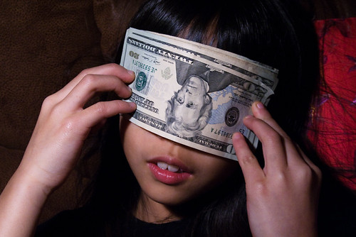 Girl Covering Her Eyes with a Stack of $20 Bills - Money Bankroll Girls February 08, 201112 | by stevendepolo