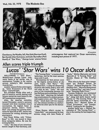 Information - Academy Awards - Lucas Star Wars wins 10 Oscar slots - The Modesto Bee - 1978-02-22 | by mMathab
