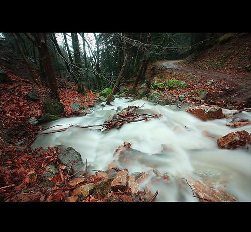 road winter water forest waterfall rocks flood skotina tamron1024mm