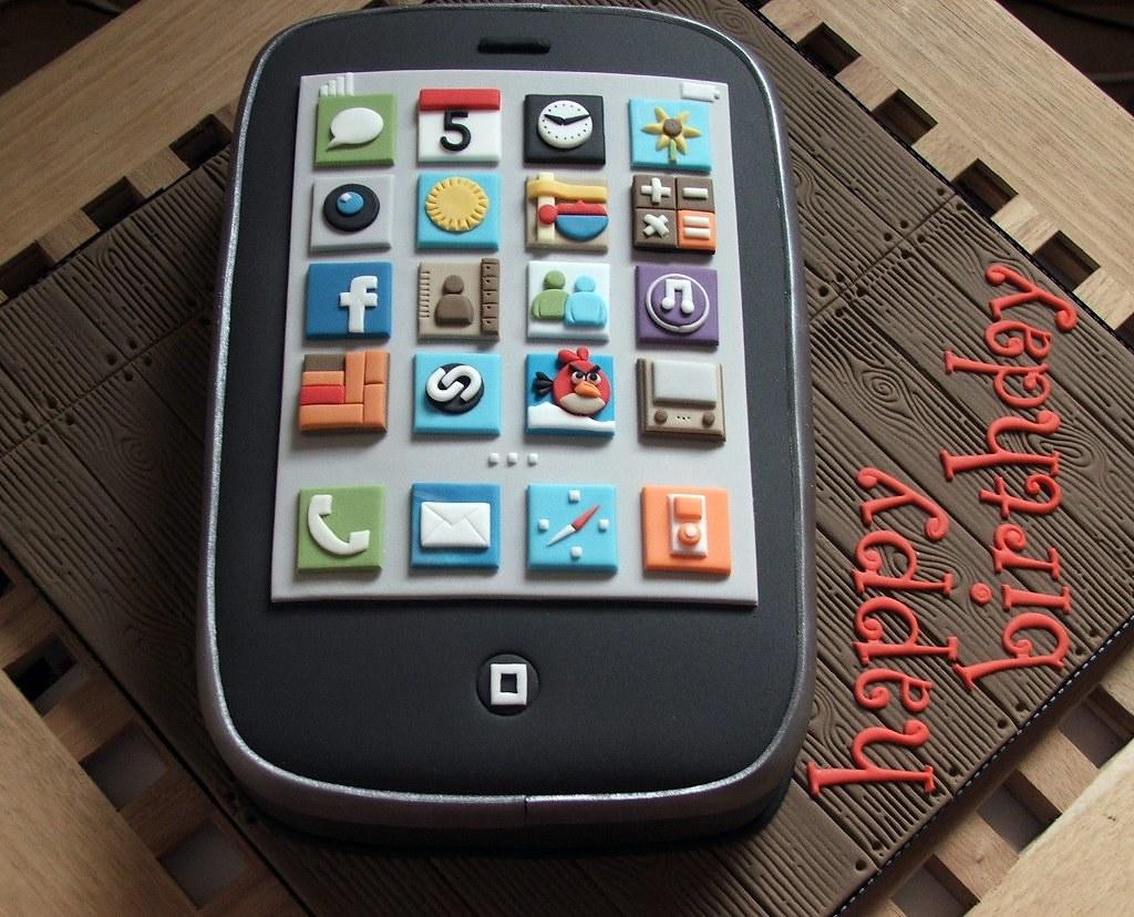 Astounding Iphone Birthday Cake Iphone Birthday Cake Made For My Boyf Flickr Funny Birthday Cards Online Aeocydamsfinfo