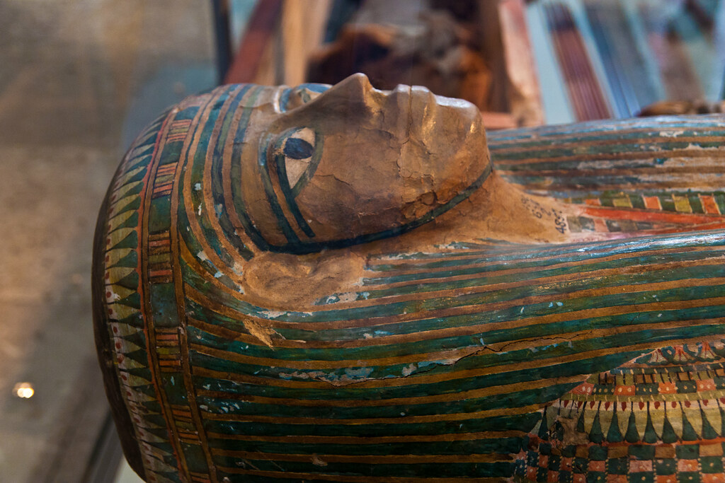 Inner coffin of the tomb of priest Hor at Deir el-Bahari, Thebes, Egypt 25th Dynasty, about 680 BC  The British Museum allows photo shooting providing there is no financial gain.  Please respect their policy