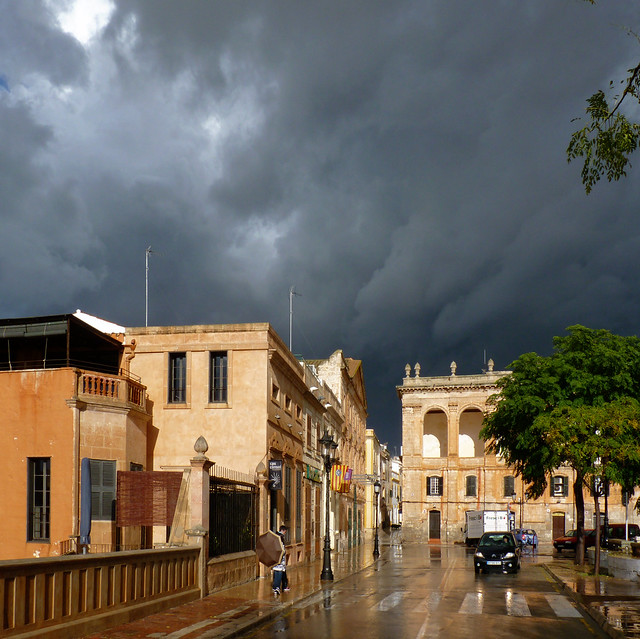 Heavy hail hits the charming medieval streets of Ciutadella
