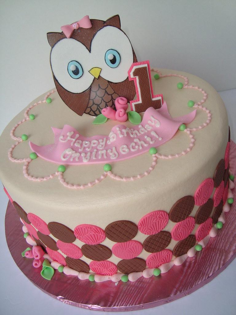 Fabulous Owl First Birthday Cake Sarah Orr Flickr Funny Birthday Cards Online Hendilapandamsfinfo