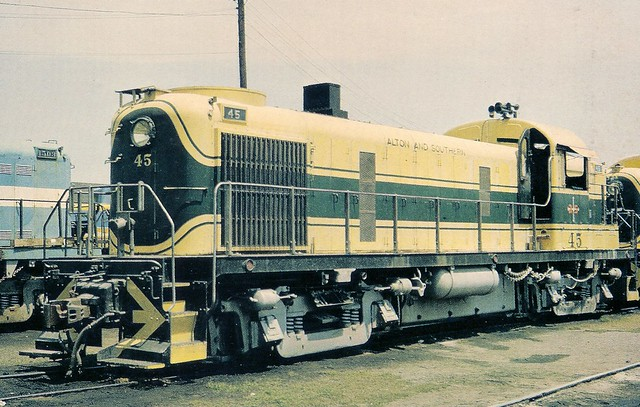 ALS0001 Locomotive No. 45 was built by Alco in 1956 as a 1600 hp RS-3. The B-B Diesel rests in the loco yard in East St. Louis, IL Saturday, June 19, 1965 (K.C. Henkels)