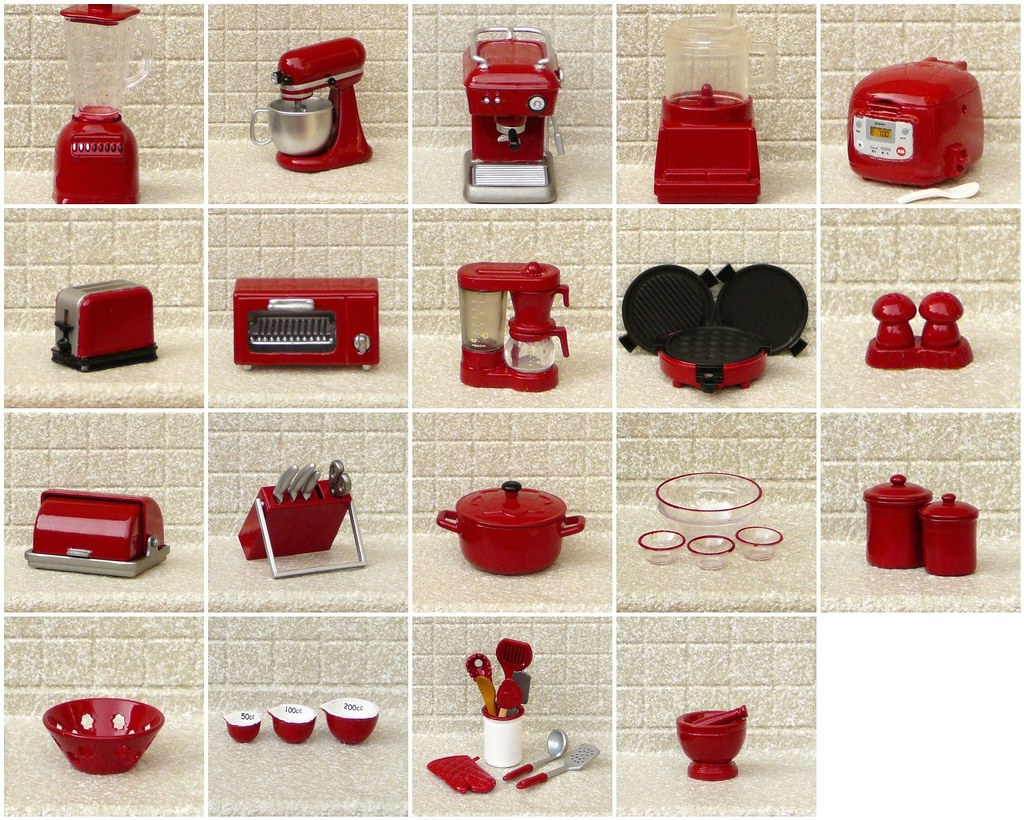 My Re-ment Red Re-painted Miniature Kitchen Appliances | Flickr
