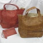 Katrina鱷魚紋手袋(紅色,駱駝色)