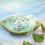 リーフバスケット/ミストグリーン(Leaf Basket/Green Mist):flower arrangement