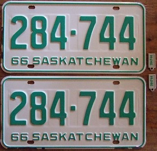 SASKATCHEWAN 1966 LICENSE PLATE PAIR ---WITH MATCHING KEYCHAIN TAGS