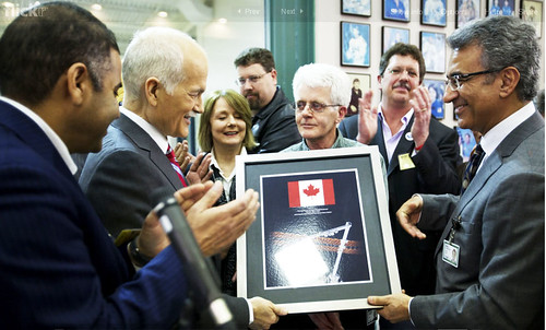 Jack Layton receiving a plaque from MDA Management | by Jagtar Shergill