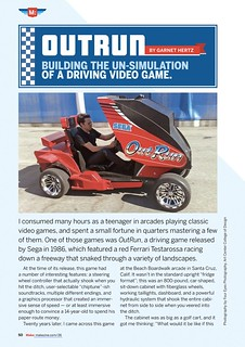 (Page 50) OutRun: Building the Un-Simulation of a Driving Video Game. Garnet Hertz. Make 26.