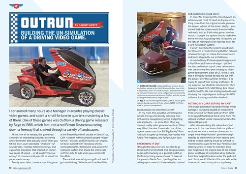 (Pages 50-51) OutRun: Building the Un-Simulation of a Driving Video Game. Garnet Hertz. Make 26.