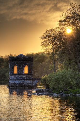 ireland lake sunrise temple hdr roscommon loughkey