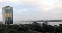 View of the Straits of Johore at dusk