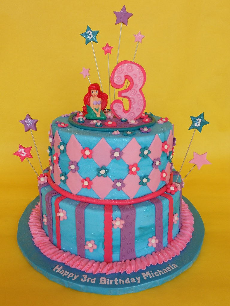 Super Little Mermaid Birthday Cake The Colors For This Little Me Flickr Birthday Cards Printable Giouspongecafe Filternl