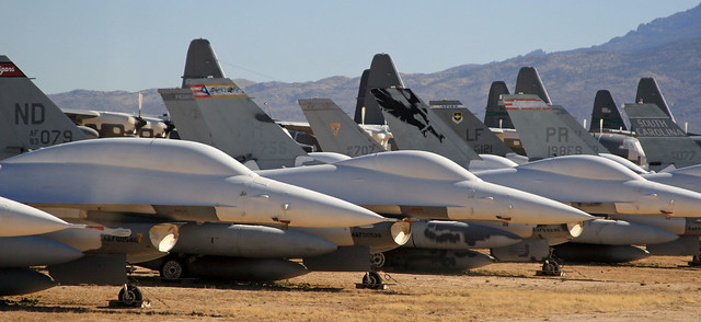 F-16 noses in front of C-130 tails