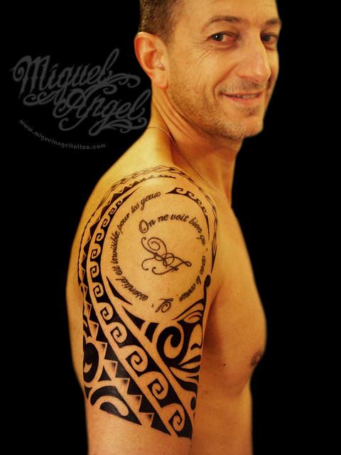 Custom polynesian tribal tattoo around Little Prince text