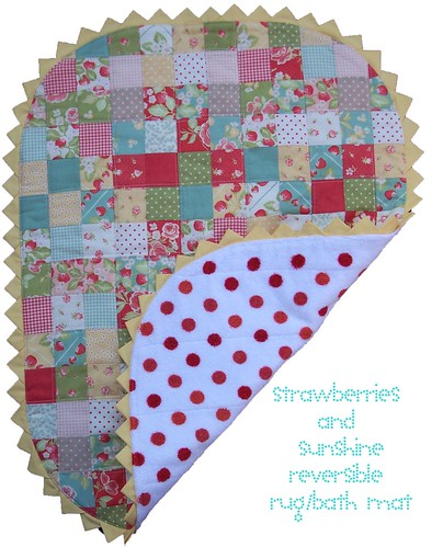 strawberries and sunshine reversible rug bath mat | by sewtakeahike