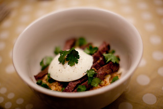Korean-Style Pat La Freida Skirt Steak with Kimchi Rice and Poached Egg | by phy5ics