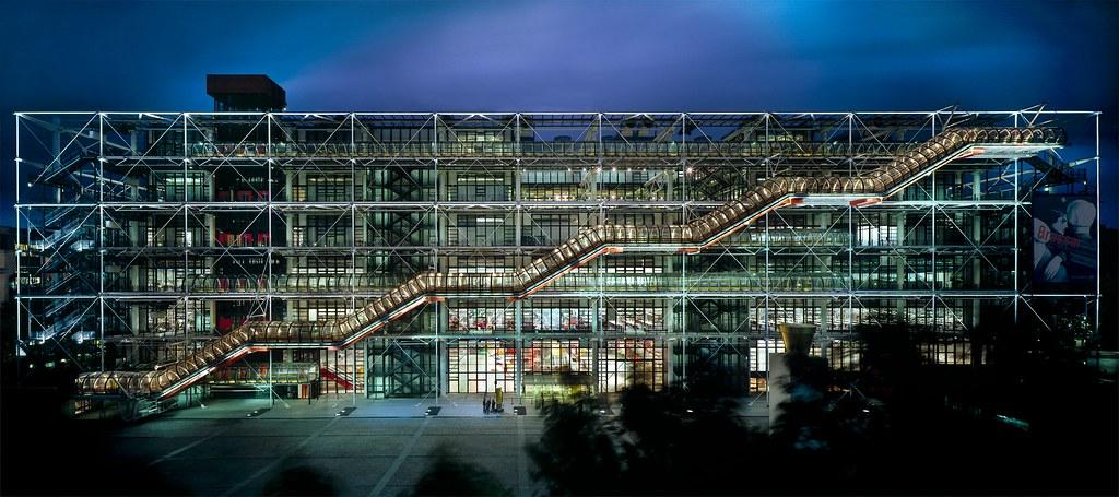 Le Centre Pompidou de nuit
