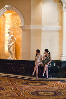 15670 Pearl and Chris wait in Caesars Palace next to statue | by geekstinkbreath