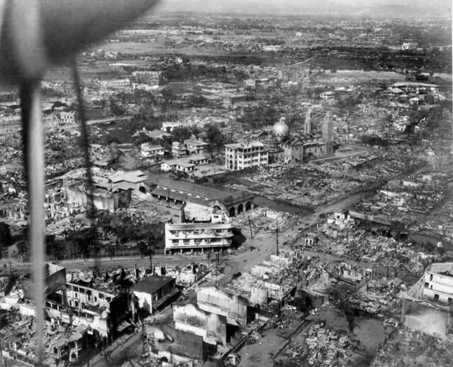 Destruction in Manila, Philippines, Paco district, Feb. 1945. The church is the San Fernando de Dilao Parish