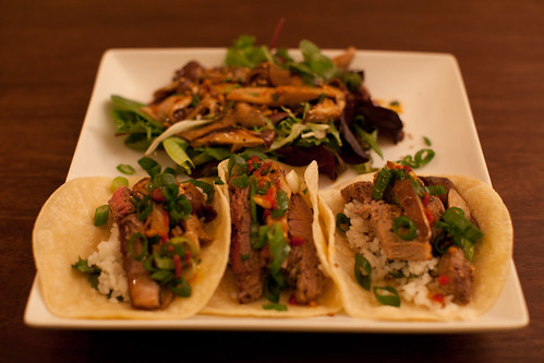 Asian Steak Tacos with Marinated Beef, Shiitake Mushrooms and Cilantro Rice; Shiitake and Mixed Greens Salad. | by phy5ics