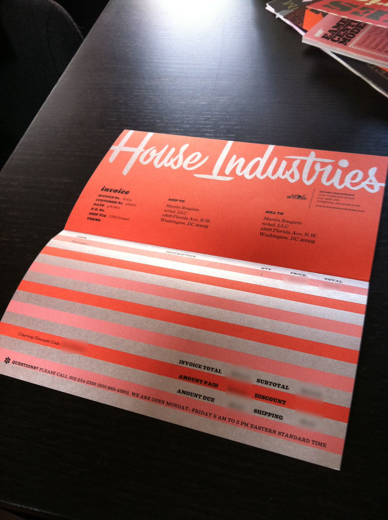 House Industries invoice