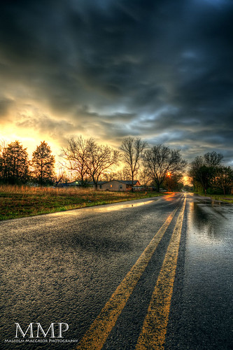 road sunset storm wet clouds rural stormy