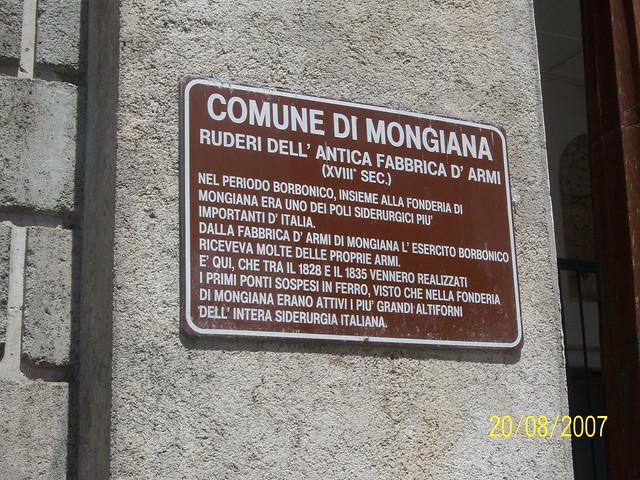 Cartello fabbrica d'armi di Mongiana