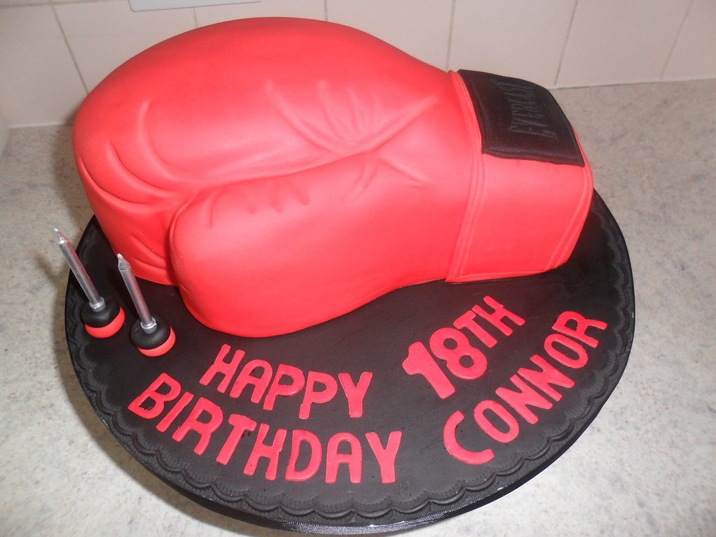 Tremendous Red 18Th Boxing Glove Birthday Cake Elizabeth Flickr Funny Birthday Cards Online Alyptdamsfinfo