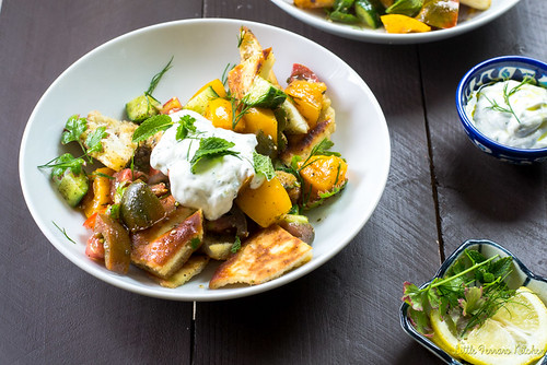 Heirloom Tomato Fattoush Salad via LIttleFerraroKitchen.com | by FerraroKitchen1