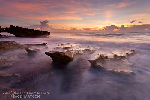 ocean sunrise landscape dawn florida jupiter satesh coralcove rocksonbeach peaceinart